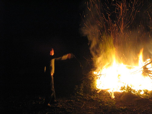 Nico building a huge fire