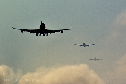 ILS approach. Descending through clouds few miles from landing. London Heathrow Airport UK
