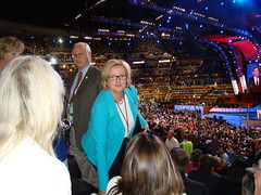 CLaire McCaskill and her husband sitting with the Missouri Delegation