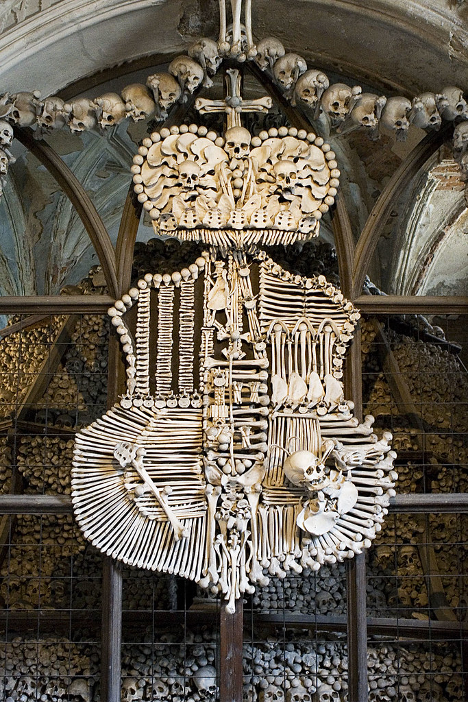 Schwarzenberg coat of arms, rendered in human bones