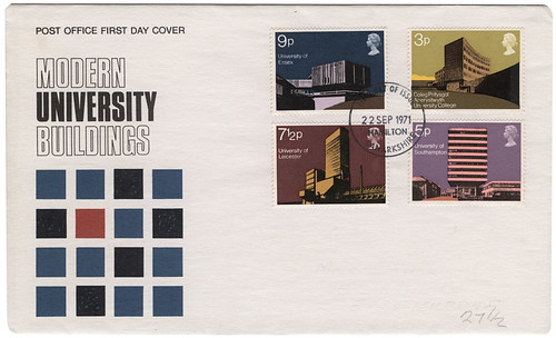 modern university buildings stamps
