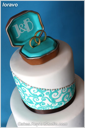 Turquoise and Chocolate Brown Wedding Cake