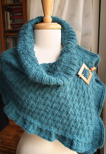 The Rococo Shawl - Hand Knit Wool & Llama Shawl (in Teal)