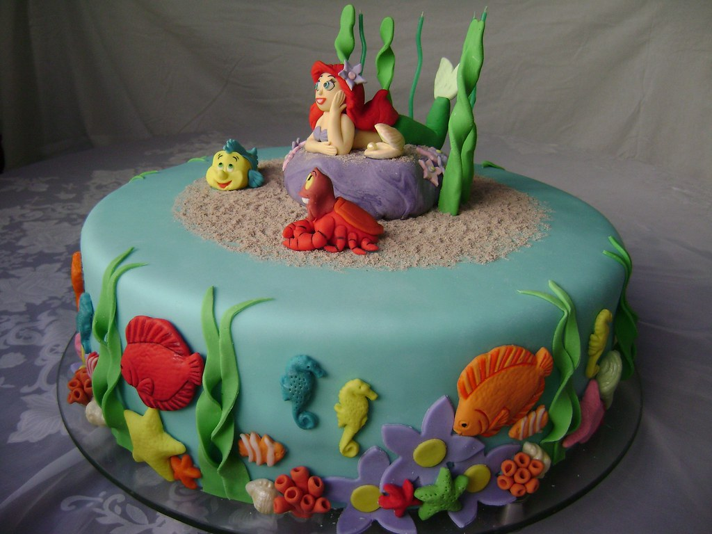 Bolo Ariel Pequena Sereia - Little mermaid cake
