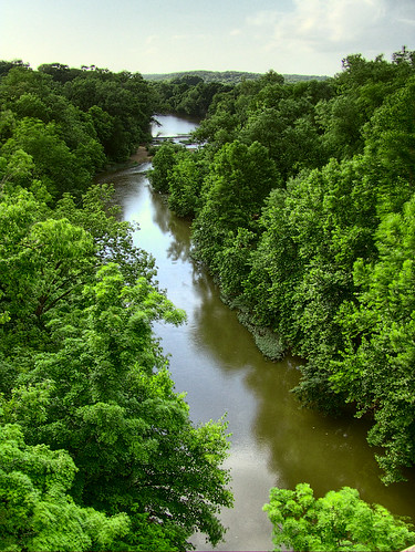 Bourbeuse River, in Noser Mill, Franklin County, Missouri, USA - looking west from above