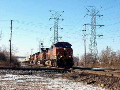 Eastbound BNSF Railway trailer train speeding through Mc Cook Junction. Mc Cook Illinois. January 2007. by Eddie from Chicago