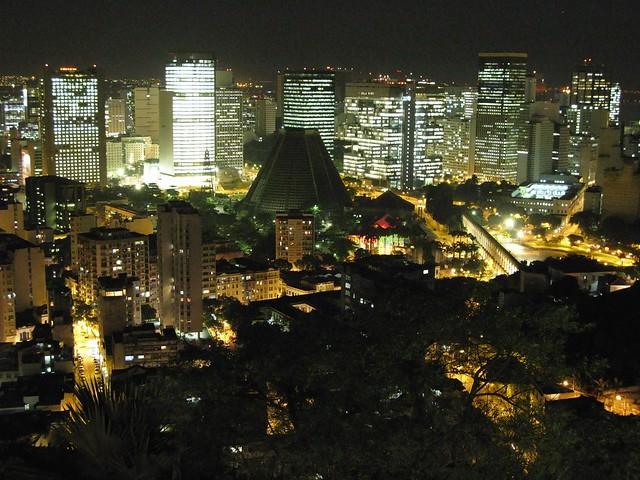 Centro da Cidade visto do Parque das Ruínas Downtown noite night Rio de Janeiro