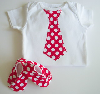 Appliqued Red and White Polka Dot Tie Baby Onesie/TShirt and Booties