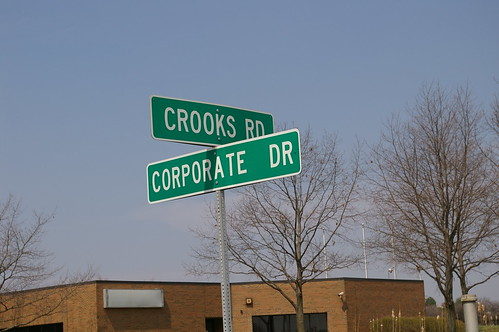 Signpost: cross-streets, Crooks Rd & Corporate Dr