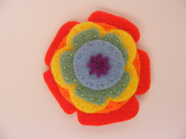 Rainbow layered flower (stitched)