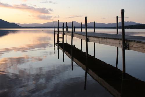 sunset lake reflections ossipee