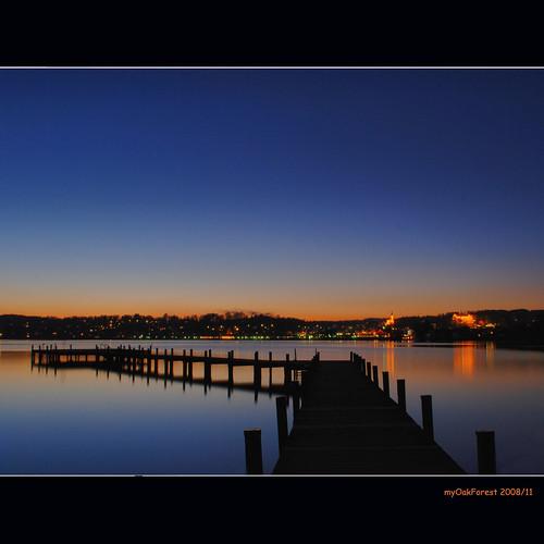 winter sunset lake pier bravo starnberg percha