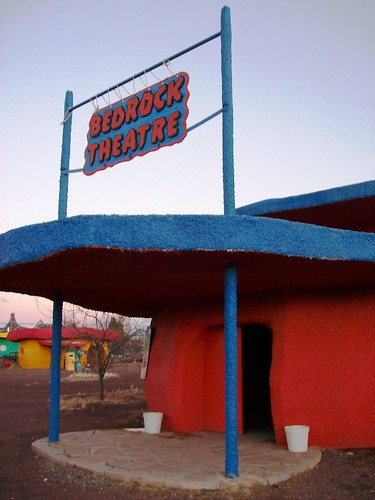 Bedrock Theatre, where they show Flintstones cartoons all day at Bedrock City, AZ - bedrock46x