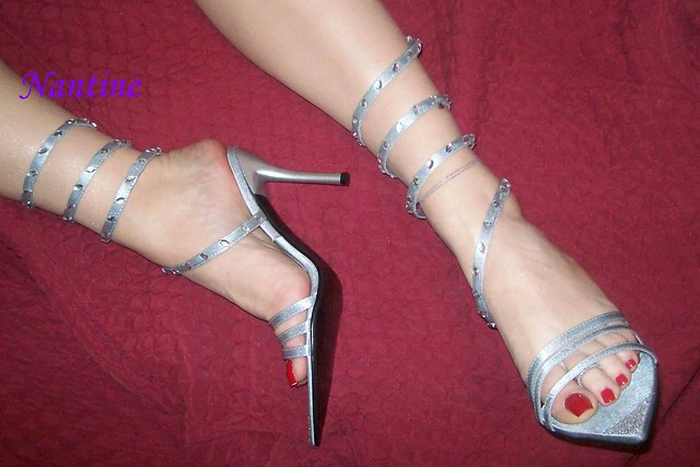 Silver snake tie-up sandals 3 (71)