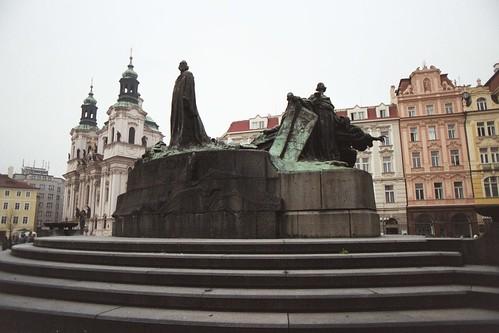 Prague 2002: cathedral behind giant Jan Hus Memorial statue near center of Staroměstské náměstí (Old Town Square)