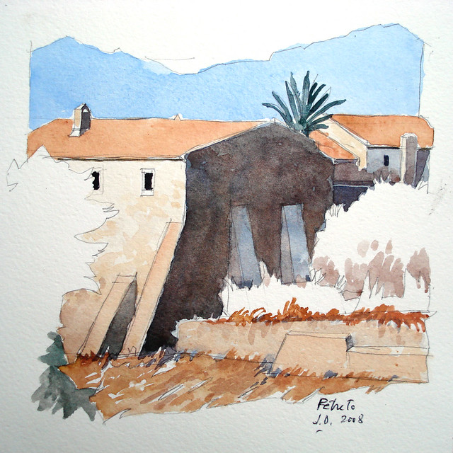 Petreto (Corse) ancien couvent (aquarelle)