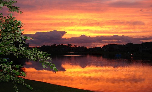 pink sunset sky orange lake tree beautiful wisconsin clouds evening purple dousman takenbys