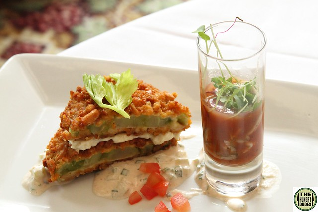 (Big Rock Chop House) Fried Green Tomato with Goat Cheese (3)