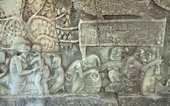 Scène d'épouillage (bas-relief du Bayon)