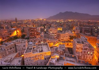 Yemen - Sanaa - Historical Old Town at Blue hour - Dusk - Blue Hour - Night