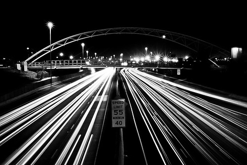 longexposure bridge blackandwhite bw night interestingness highlands highway colorado noir headlights denver explore interstate i25 taillights lodo 28105mm canonxti speedlimit55 exploredon20081030 iknowyoulovetheblacksyouknowwhoyouare minimunspeedlimitof40mph