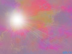 rainbow(0.0), circle(0.0), purple(1.0), sunlight(1.0), line(1.0), pink(1.0), sky(1.0), lens flare(1.0),