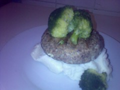 tuna burger with broccoli and mash