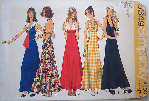 Simplicity 5349 Vintage 70s Sewing Pattern Halter Maxi Dress Prom Formal UNCUT