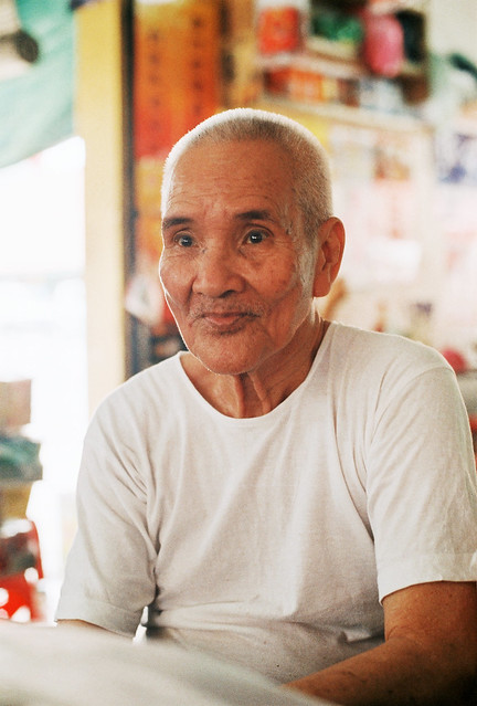 An old man at the hawker centre