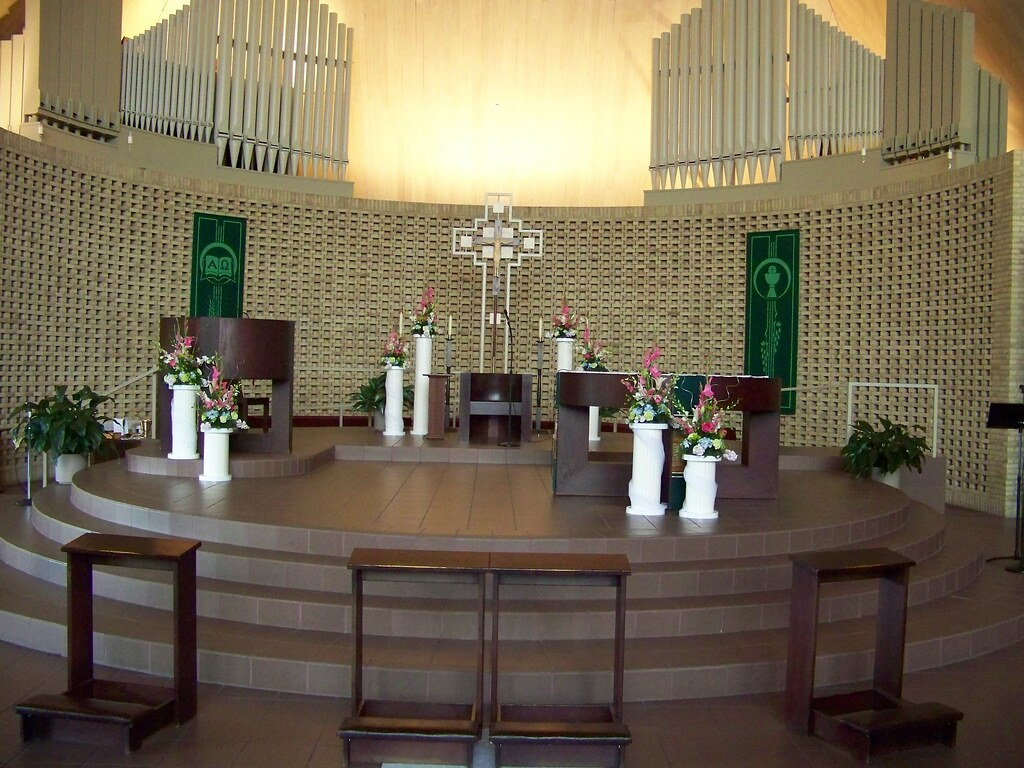 Altar Flowers at Our Lady of the Woods Catholic Church