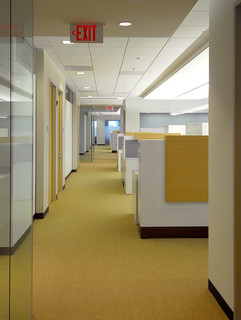 Hallway, work stations, corner of meeting room