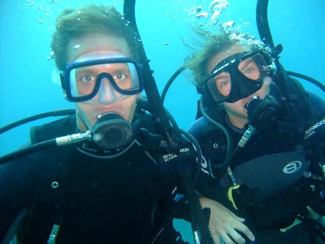 Audrey and Dan Scuba Diving - Utila, Honduras