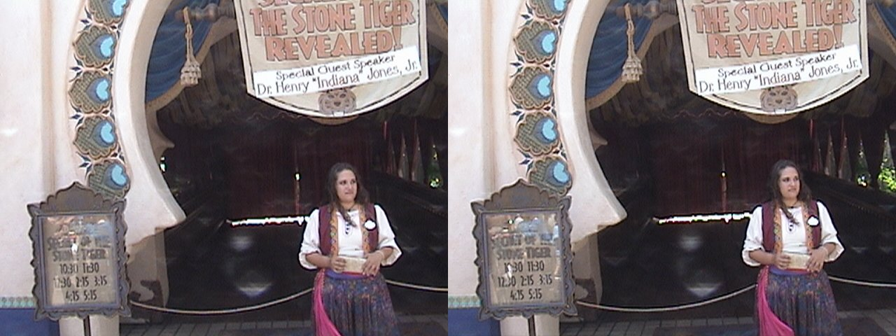 "3D, Marquee, Aladdin's Oasis conversion to ""Secrets of the Stone Tiger Revealed"" show during Summer of Indiana Jones™, Adventureland, Disneyland®, Anaheim, California, 2008,06,14 11.10"