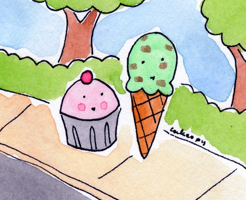 Cupcake and Ice Cream Take a walk