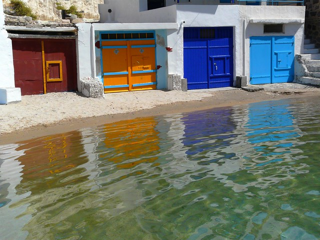 Boat Garages Milos Island Multicolored Boat Garages