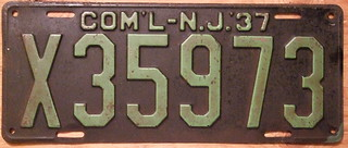NEW JERSEY 1937 COMMERCIAL plate