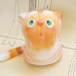 Keith, the Orange Cat - felt art toy