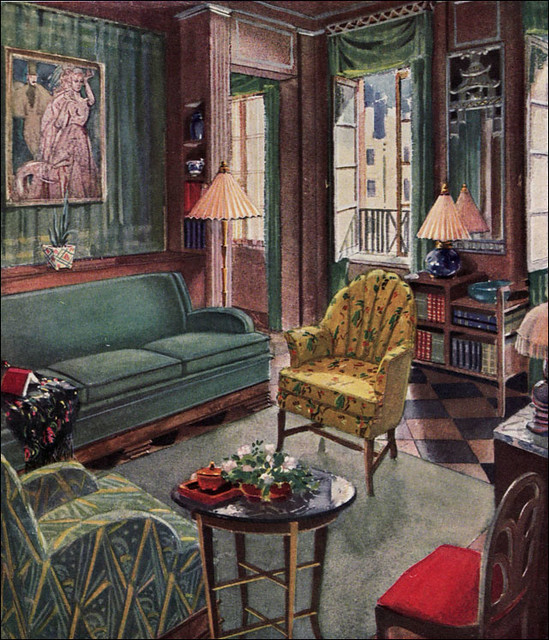 1929 modern living room by karpen published in american for Art deco style living room furniture