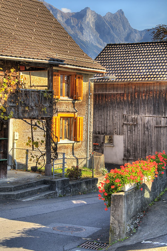 old flowers houses mountains alps beautiful switzerland nikon village swiss sunny typical hdr wangs d300 sargans photomatix abigfave vilters colourartaward