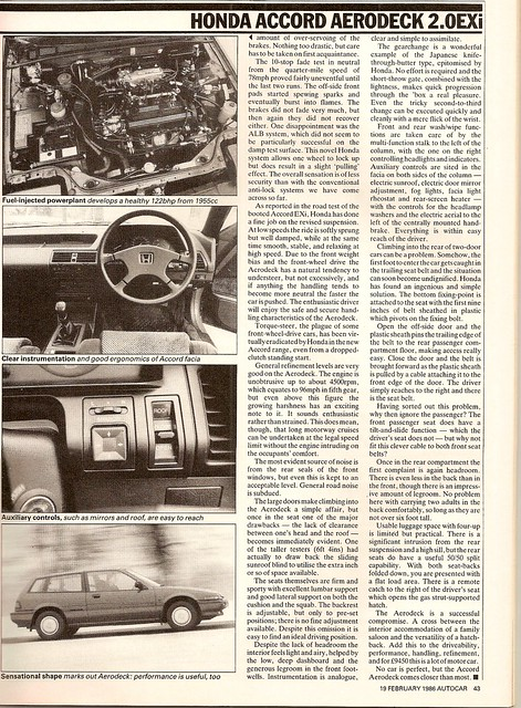 Honda Accord Aerodeck 2.0 EXi Test 1986 4