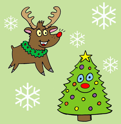 christmas deer and tree wallpaper