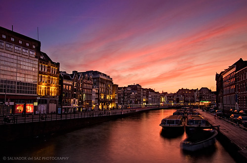 Glorious dusk at Amsterdam