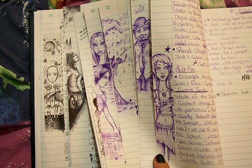 Notebook margin doodles.