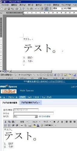 WordとMSN Spaces