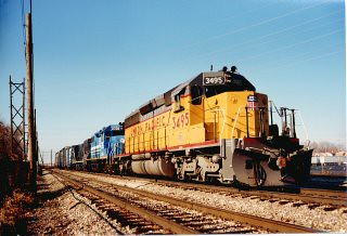 Southbound Union Pacific freight train. Alsip Illinois. November 1989. by Eddie from Chicago