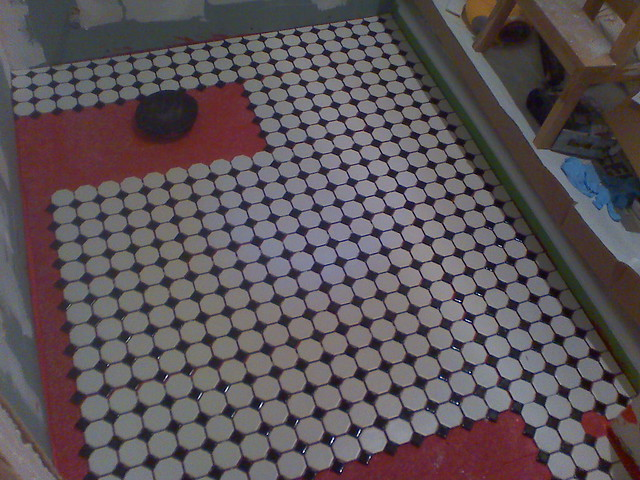Octagon shaped floor tiles