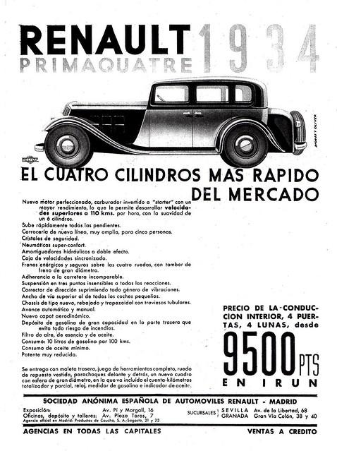 1934 Renault Primaquatre Ad (Spain)