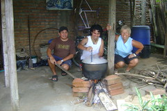 Miller, Pablo, and Nancy making Ajiaco soup for Mother's Day