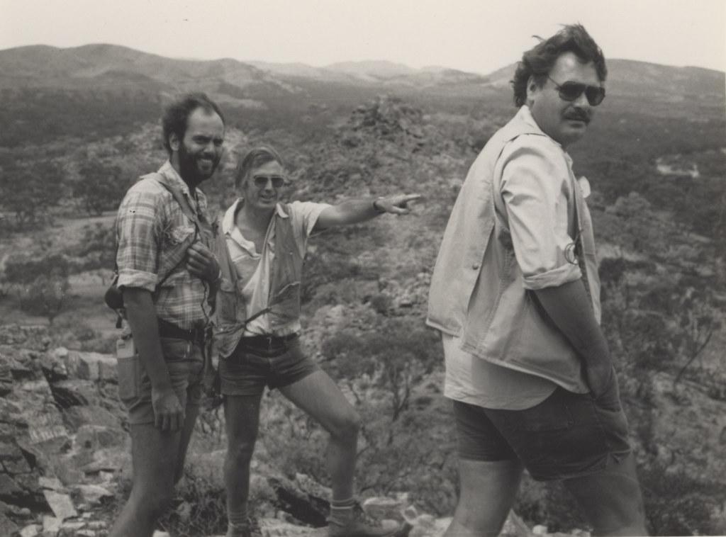 Mr Bernd Lottermoser, Professor I.R. Plimer and Dr. D. Blight of Union Oil. February 1985.