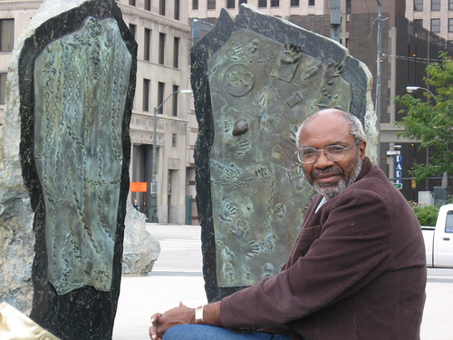 Abayomi Azikiwe, editor of the Pan-African News Wire, sitting at the Labor Monument in Hart Plaza in downtown Detroit on September 27, 2008. (Photo: Alan Pollock). by Pan-African News Wire File Photos